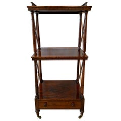 English 19th Century Regency Rosewood Étagère Two-Tier Stand with Drawer