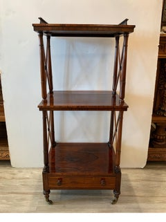 English 19th Century Regency Rosewood Etagere Two Tier Stand With Drawer