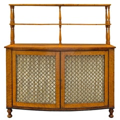English 19th Century Regency St. Bow Front Birds Eye Maple Cabinet, Circa 1810
