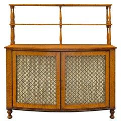 English 19th Century Regency St. Bow Front Birds Eye Maple Cabinet, Circa 1810