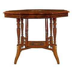 English 19th Century Regency Style Rosewood Inlaid Center/Side Table