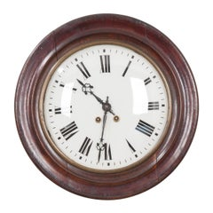 English 19th Century Round Oak Wall Clock