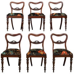 English 19th Century Set of 6 Rosewood Upholstered Chairs