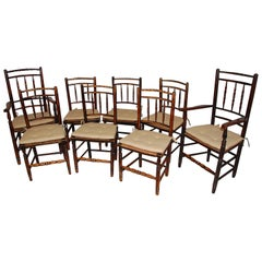 English 19th Century Set of Eight Dales Lancashire Spindleback Dining Chairs