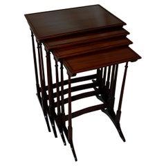 English 19th Century Set of Four Mahogany Nesting Tables