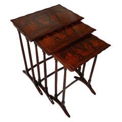 English 19th Century Set of Three Burl Walnut Nesting Tables