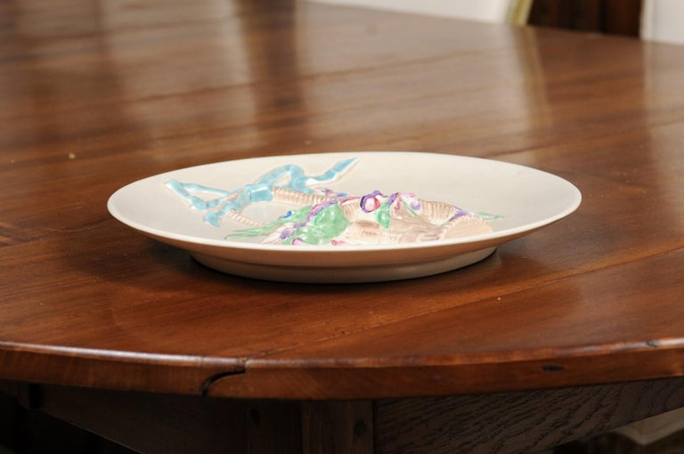English 19th Century Signed Clarice Cliff Porcelain Plate with Floral Basket For Sale 8