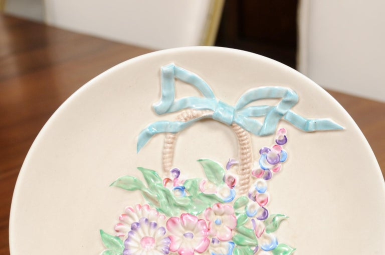 English 19th Century Signed Clarice Cliff Porcelain Plate with Floral Basket For Sale 1