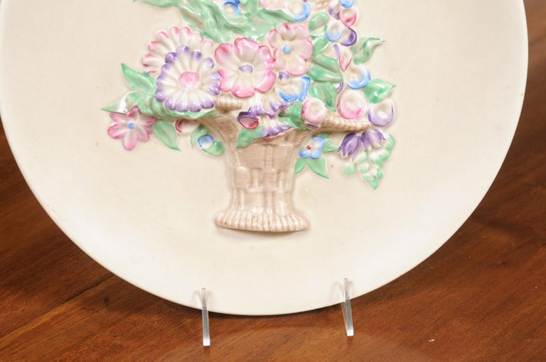 English 19th Century Signed Clarice Cliff Porcelain Plate with Floral Basket For Sale 3