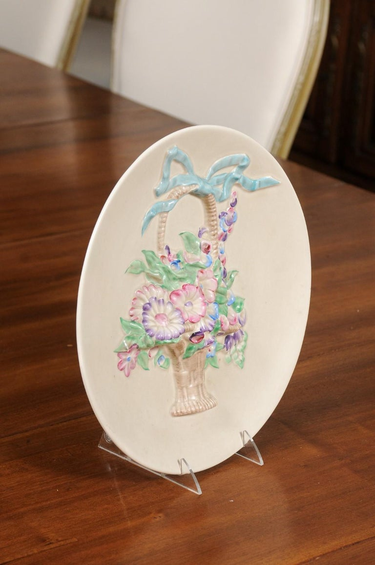 English 19th Century Signed Clarice Cliff Porcelain Plate with Floral Basket For Sale 4