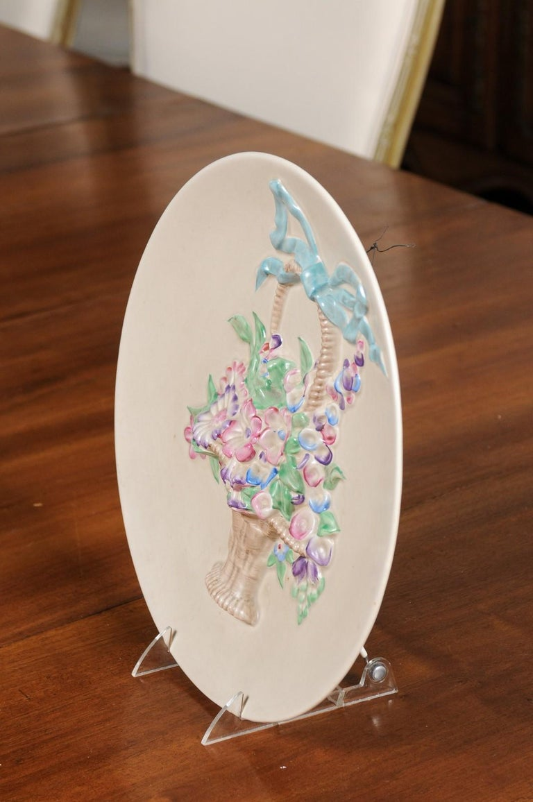 English 19th Century Signed Clarice Cliff Porcelain Plate with Floral Basket For Sale 5