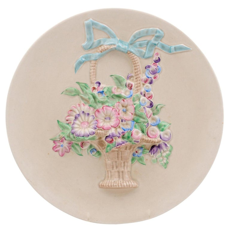 English 19th Century Signed Clarice Cliff Porcelain Plate with Floral Basket For Sale