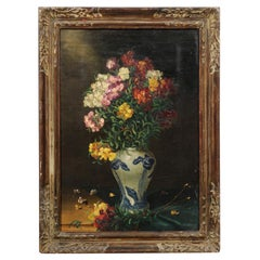 English 19th Century Signed Floral Still-Life with Blue and White Porcelain Vase