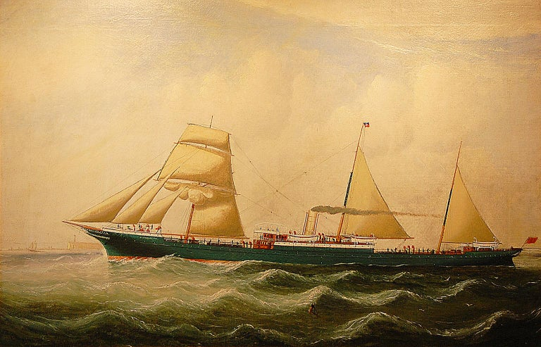 English 19th Century Signed Ship Portrait by Charles Kensington Oil on Canvas For Sale 4