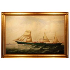 English 19th Century Signed Ship Portrait by Charles Kensington Oil on Canvas