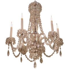English 19th Century Six-Light Cut Glass Chandelier