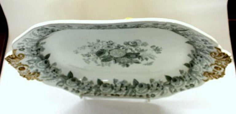 English 19th Century Spode Earthenware Transferware Large Platter/Tureen Stand For Sale 1