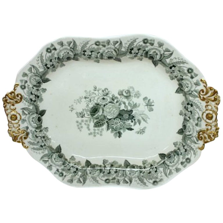 English 19th Century Spode Earthenware Transferware Large Platter/Tureen Stand For Sale