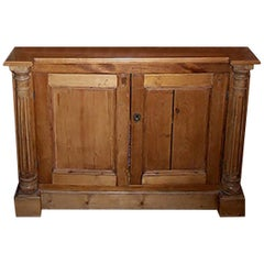 English 19th Century Stained Buffet with Two Solid Doors and One Shelf