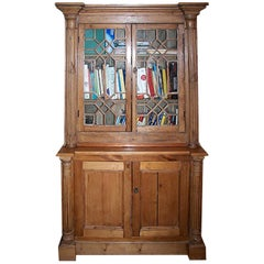 English 19th Century Stained Deux Corp Pine Bookcase with 4 Doors and 3 Shelves