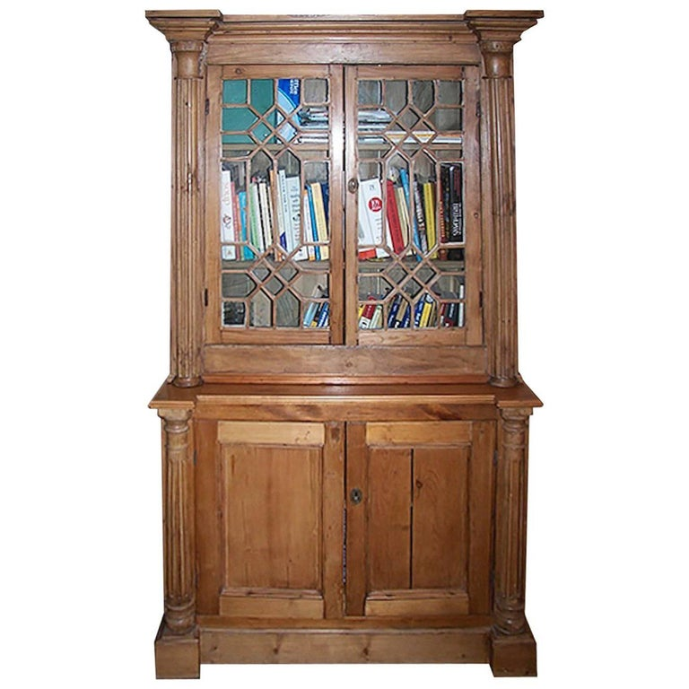 English 19th Century Stained Deux Corp Pine Library Bookcase with Four Doors.