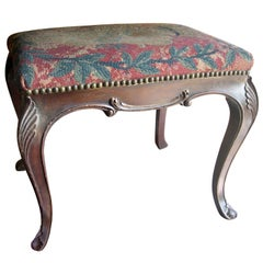English 19th Century Stained Hand Carved Walnut Needlepoint Bench
