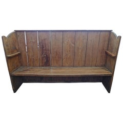 English 19th Century Stained Pine Church Pew