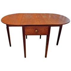 English 19th Century Stained Pine Drop-Leaf Gate-Leg Oval Table with Side Drawer