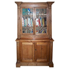 English 19th Century Stained Two Part Pine Bookcase with 4 Doors and 3 Shelves