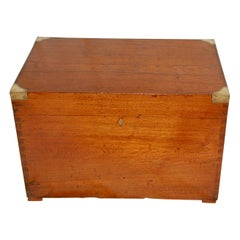 English 19th Century Teak Campaign Trunk with Brass Corners and Handles