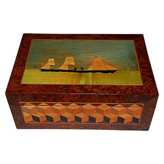 English 19th Century Trinity House Burl Walnut Writing Box Ship and Cube Inlay