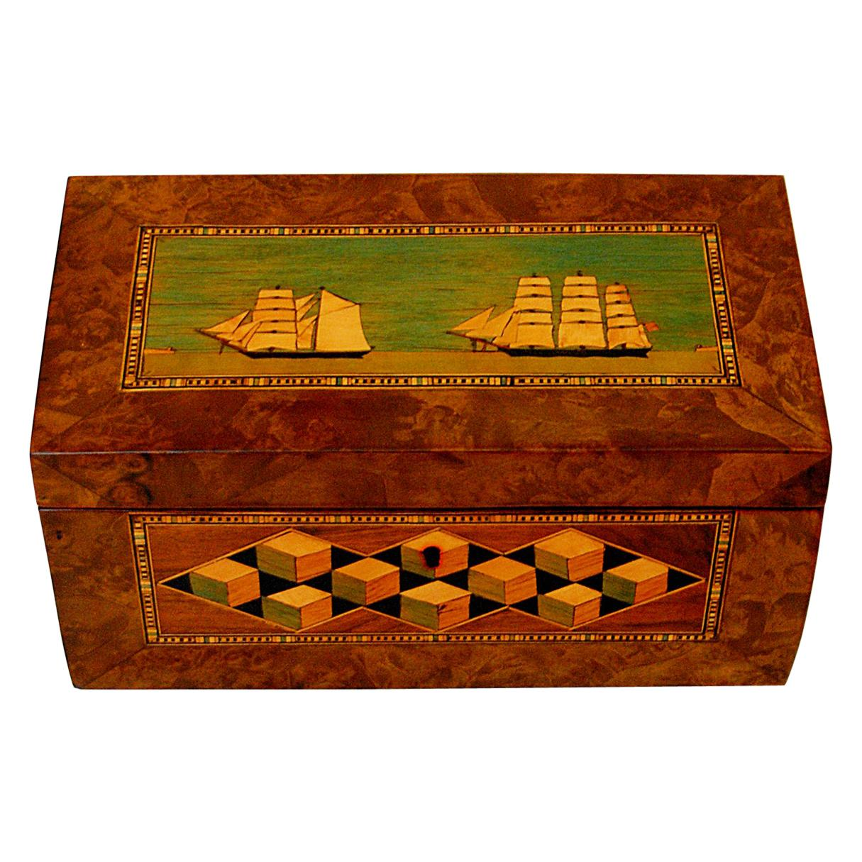 English 19th Century Trinity House Tea Caddy Ship and Perspective Cube Inlay
