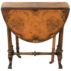 English 19th Century Victorian Inlaid Burr Walnut Baby Sutherland Table