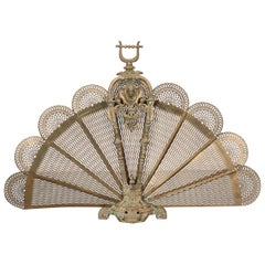English 19th Century Victorian Peacock Fireside Fan