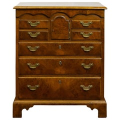 English 19th Century Walnut Commode with Graduating Drawers and Petite Door