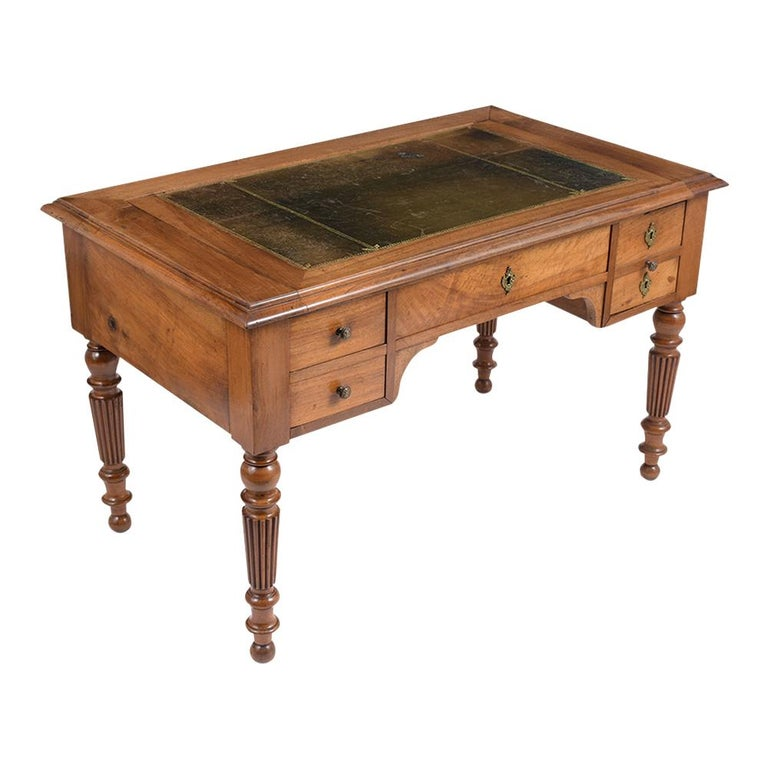 Stained English 19th Century Walnut Desk For Sale