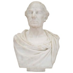 English 19th Century White Carrara Marble Bust by Sir William Hamo Thornycroft