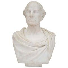 English 19th Century White Carrara Marble Bust by Sir William Hamo Thornycroft
