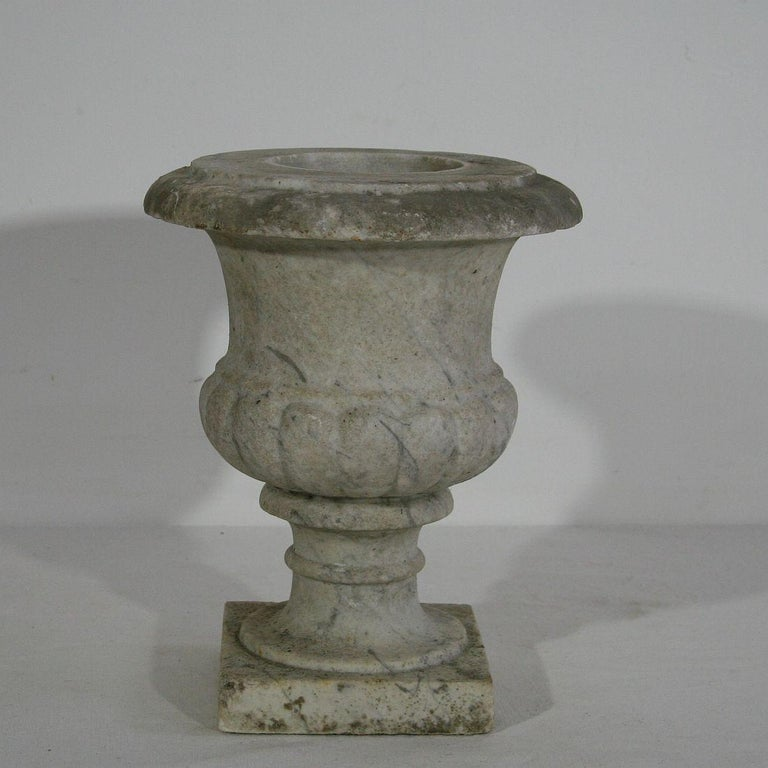 Rare white marble garden urn, England, circa 1800-1850. Weathered, some small losses.