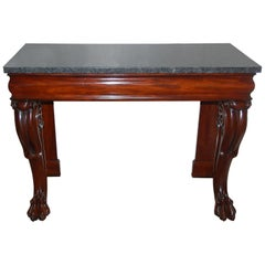 English 19th Century William IV Period Mahogany Console Table with Marble Top