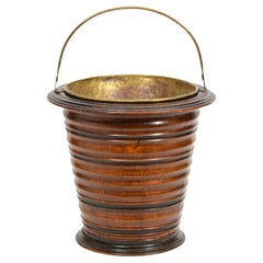 English 19th Ct. Wooden with Brass Liner Peat Bucket