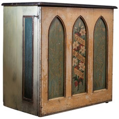 English 19th Century Decorative Painted Chapel Cupboard