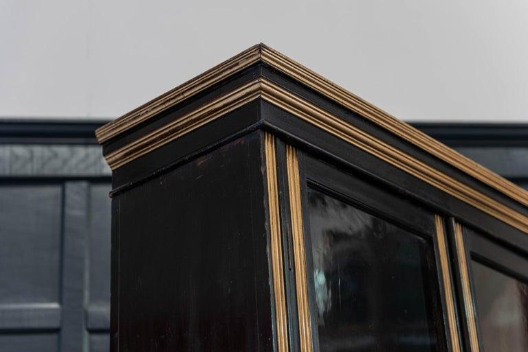 British English 19th Century Ebonized Glazed Bookcase For Sale