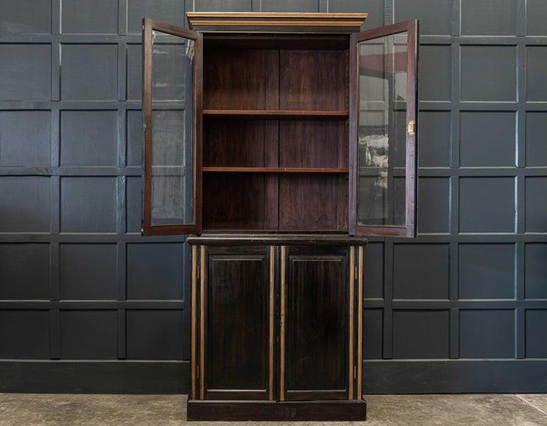 Wool English 19th Century Ebonized Glazed Bookcase For Sale