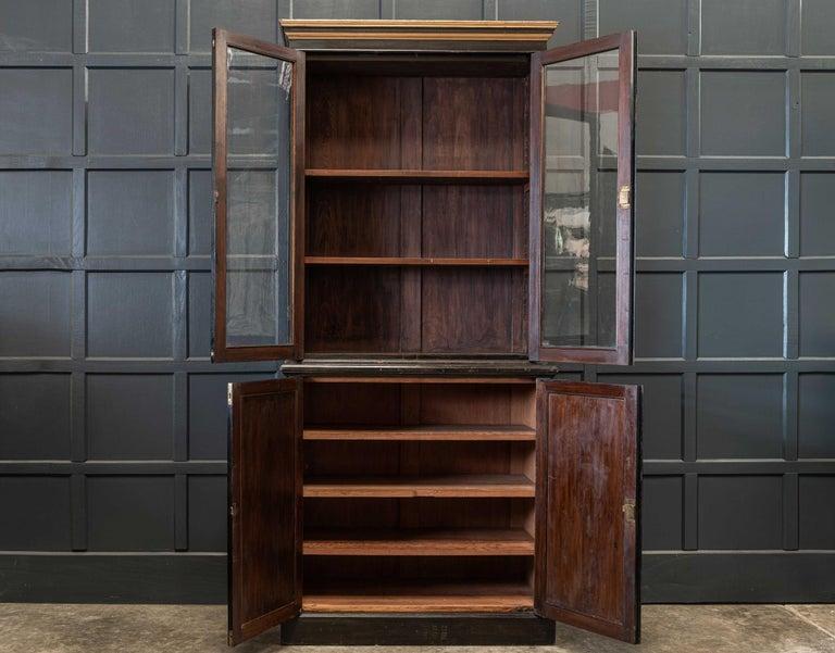 English 19th Century Ebonized Glazed Bookcase For Sale 1