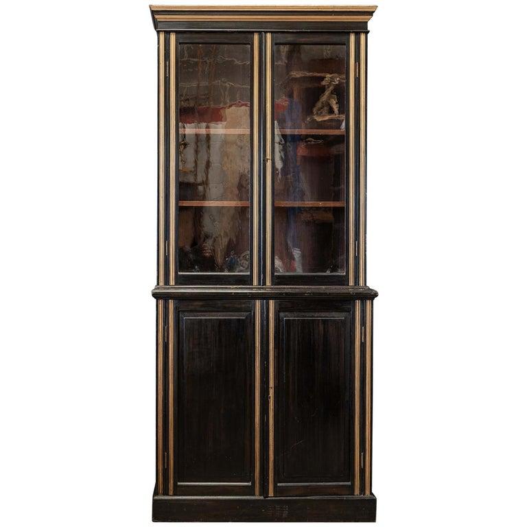 English 19th Century Ebonized Glazed Bookcase For Sale