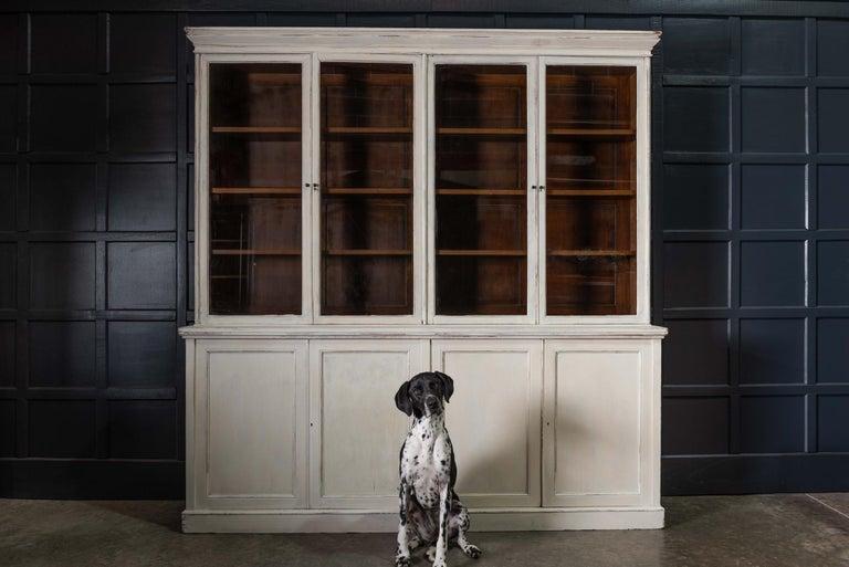 English 19th Century Large Oak Painted Glazed Bookcase For Sale