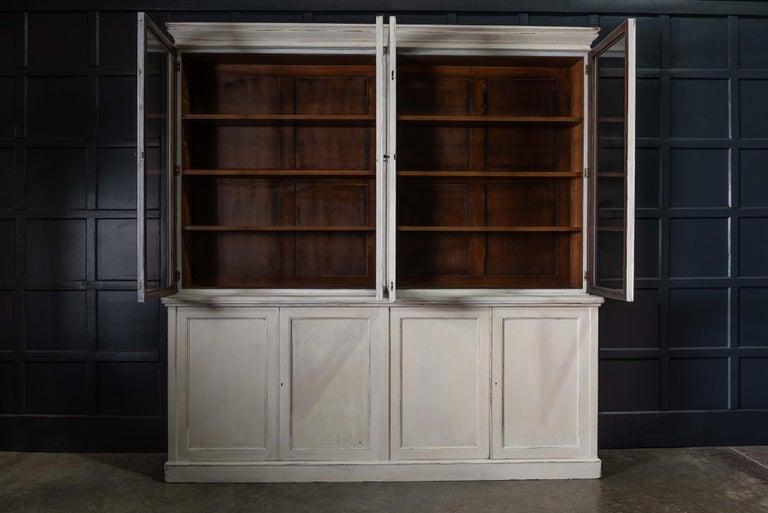 British English 19th Century Large Oak Painted Glazed Bookcase For Sale