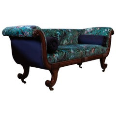English Regency Mahogany Scroll End Sofa, Reupholstered.