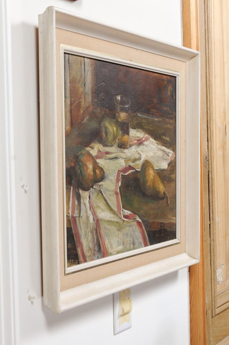 English 20th Century Framed Oil on Canvas Still-Life Painting Depicting Fruits For Sale 6